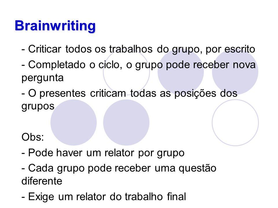 Brainwriting - Criticar todos os trabalhos do grupo, por escrito - Completado o ciclo, o grupo pode receber nova pergunta - O presentes criticam todas