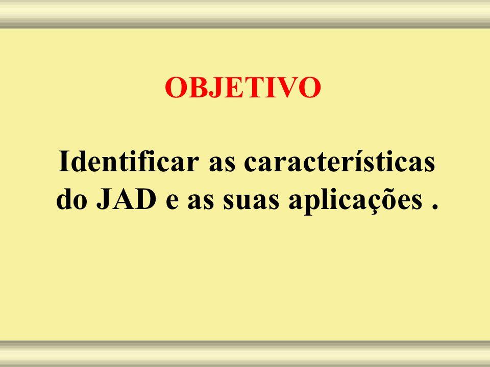 OBJETIVO Identificar as características do JAD e as suas aplicações.