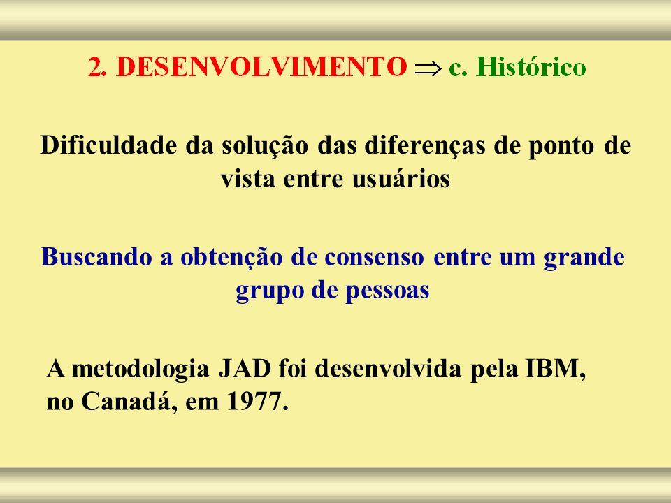 Dificuldade da solução das diferenças de ponto de vista entre usuários A metodologia JAD foi desenvolvida pela IBM, no Canadá, em 1977. Buscando a obt