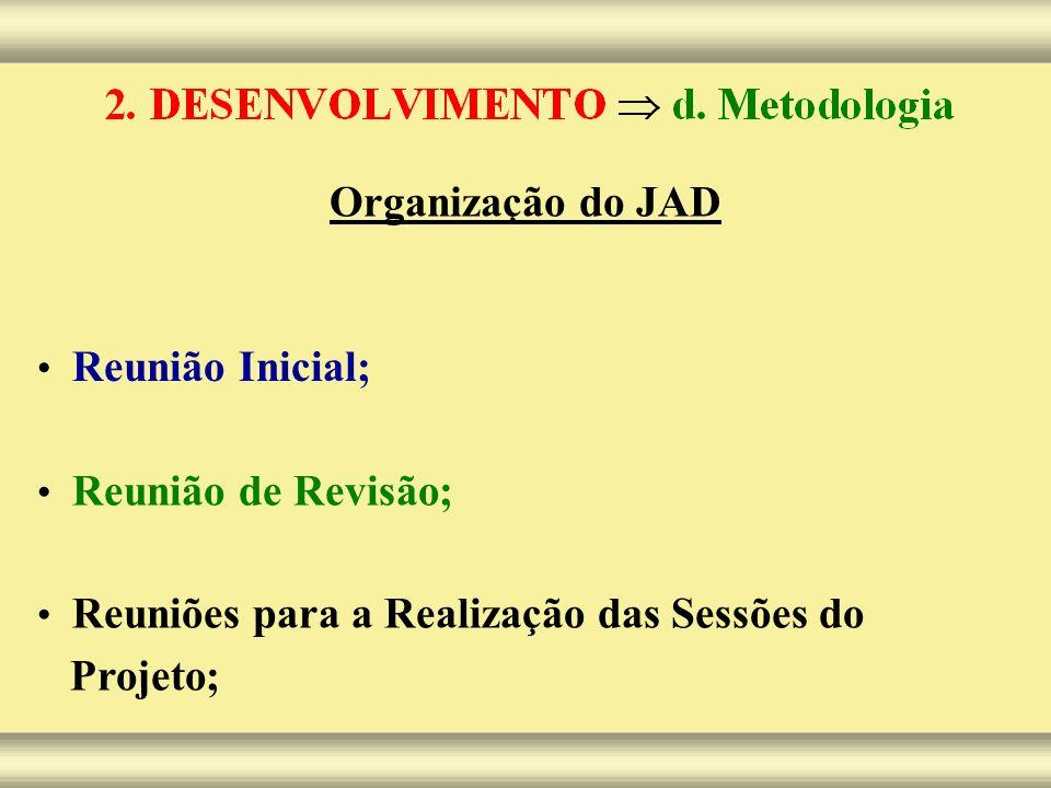 Organização do JAD Reunião Inicial; Reunião de Revisão; Reuniões para a Realização das Sessões do Projeto;