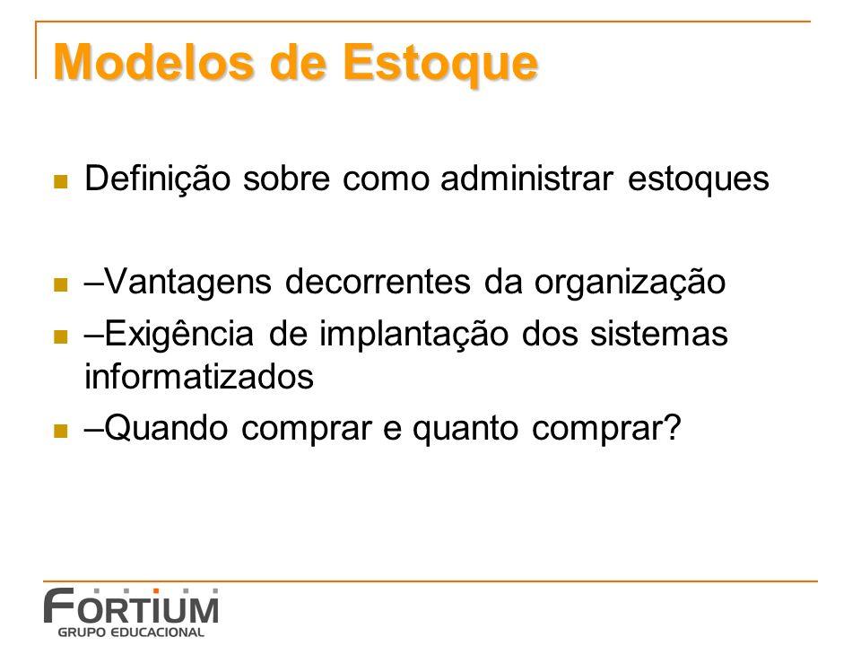 Modelos de Estoque Definição sobre como administrar estoques –Vantagens decorrentes da organização –Exigência de implantação dos sistemas informatizad