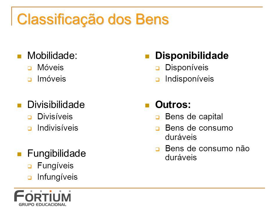 Classificação dos Bens Mobilidade: Móveis Imóveis Divisibilidade Divisíveis Indivisíveis Fungibilidade Fungíveis Infungíveis Disponibilidade Disponíve