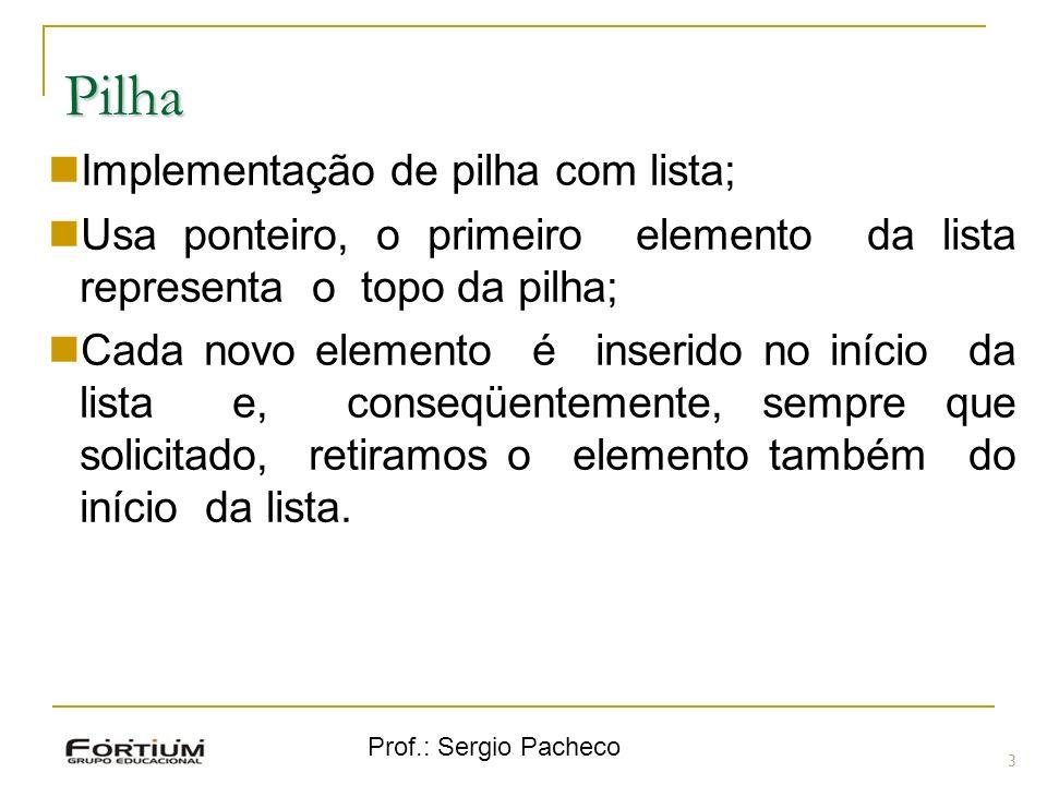 Prof.: Sergio Pacheco Pilha 3 Implementação de pilha com lista; Usa ponteiro, o primeiro elemento da lista representa o topo da pilha; Cada novo eleme