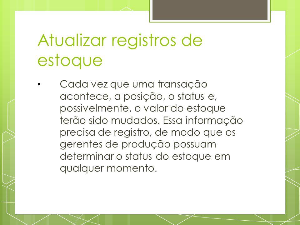 Atualizar registros de estoque Cada vez que uma transação acontece, a posição, o status e, possivelmente, o valor do estoque terão sido mudados.