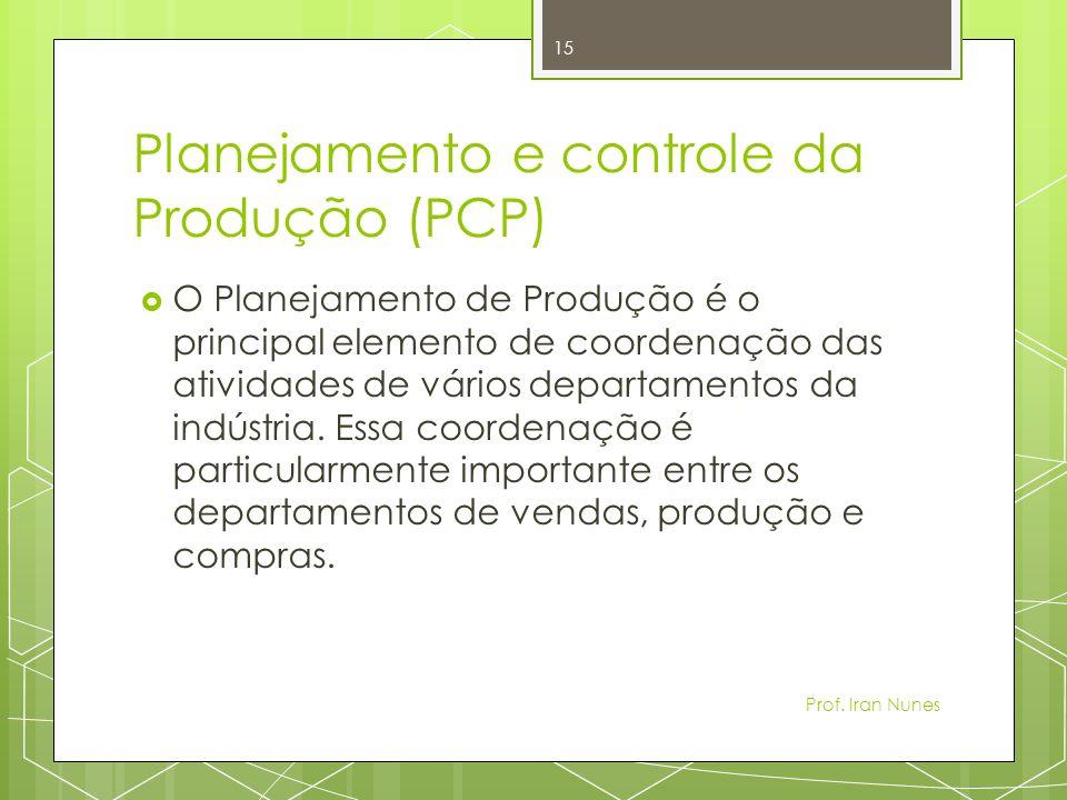 Planejamento e controle da Produção (PCP) O Planejamento de Produção é o principal elemento de coordenação das atividades de vários departamentos da indústria.