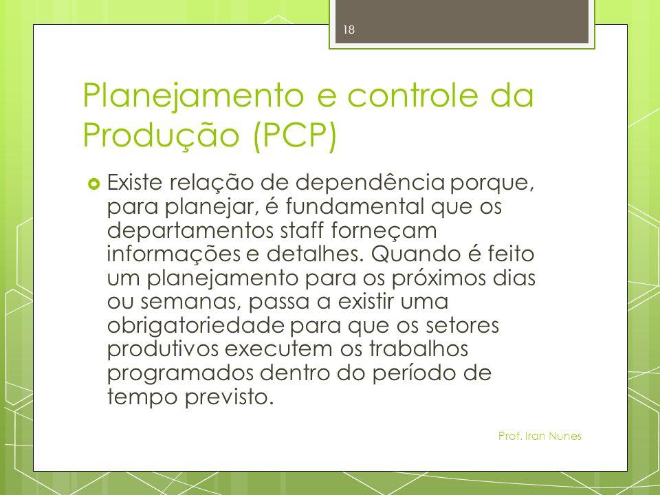 Planejamento e controle da Produção (PCP) Existe relação de dependência porque, para planejar, é fundamental que os departamentos staff forneçam informações e detalhes.