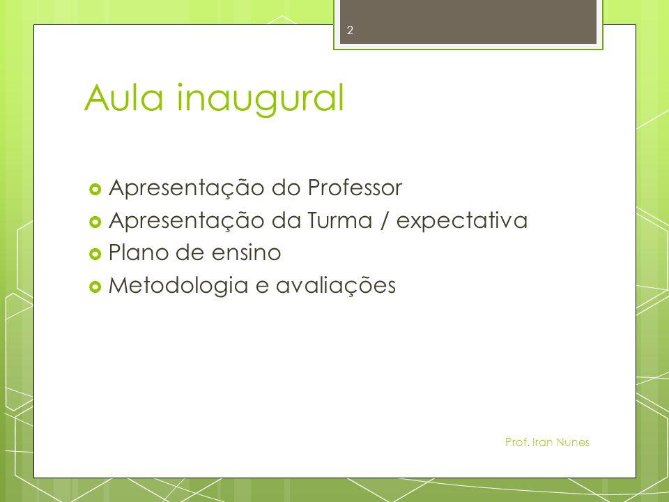 Aula inaugural Apresentação do Professor Apresentação da Turma / expectativa Plano de ensino Metodologia e avaliações 2 Prof.