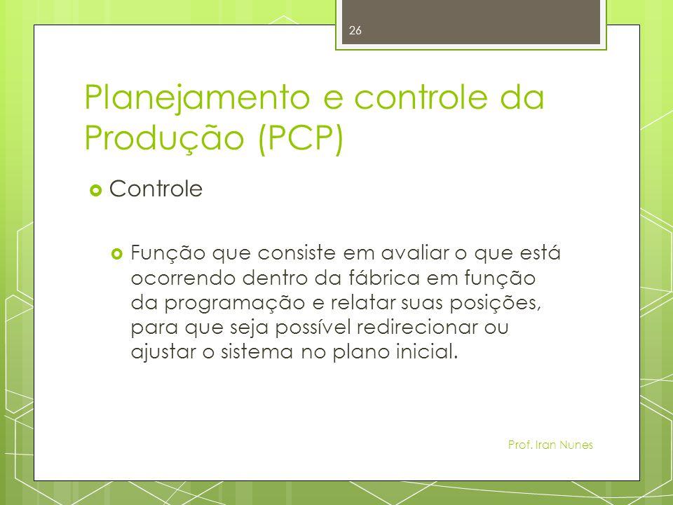 Planejamento e controle da Produção (PCP) Controle Função que consiste em avaliar o que está ocorrendo dentro da fábrica em função da programação e relatar suas posições, para que seja possível redirecionar ou ajustar o sistema no plano inicial.