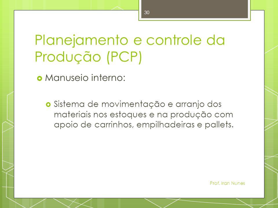 Planejamento e controle da Produção (PCP) Manuseio interno: Sistema de movimentação e arranjo dos materiais nos estoques e na produção com apoio de carrinhos, empilhadeiras e pallets.