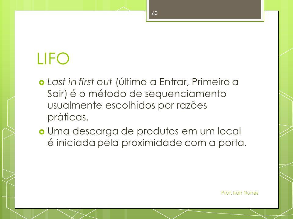 LIFO Last in first out (último a Entrar, Primeiro a Sair) é o método de sequenciamento usualmente escolhidos por razões práticas.