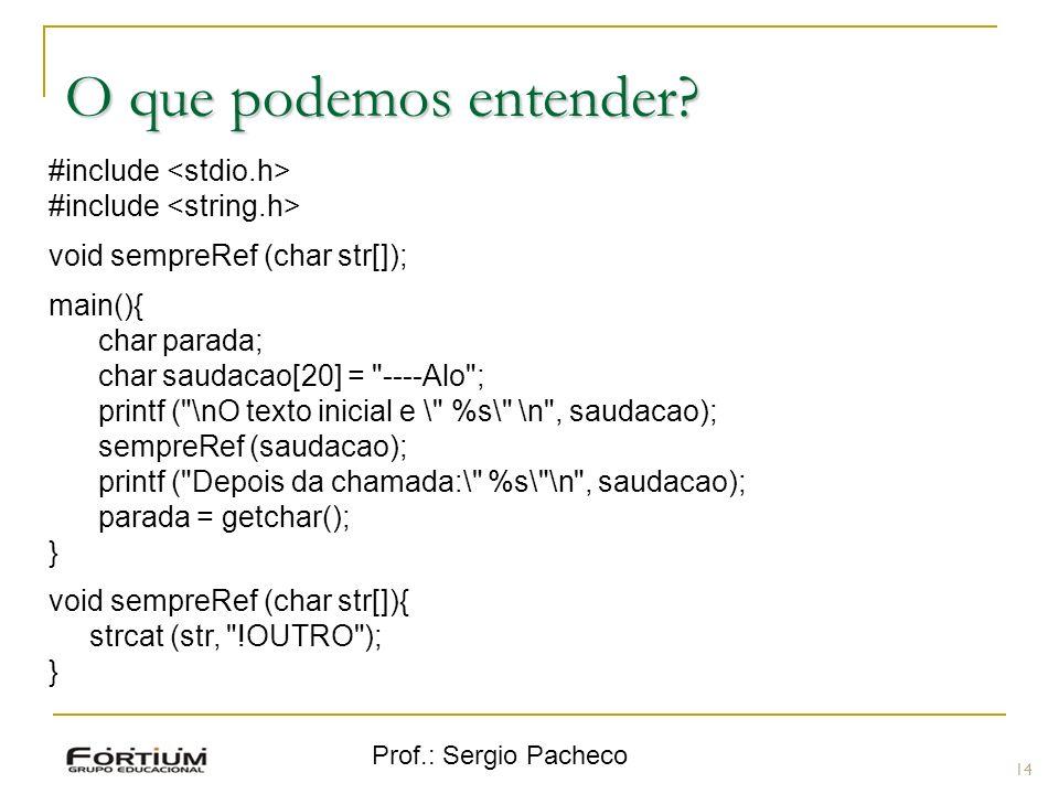 Prof.: Sergio Pacheco O que podemos entender? 14 #include void sempreRef (char str[]); main(){ char parada; char saudacao[20] =