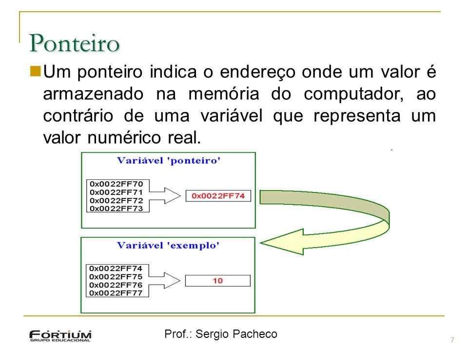 Prof.: Sergio Pacheco Ponteiro 7 Um ponteiro indica o endereço onde um valor é armazenado na memória do computador, ao contrário de uma variável que r