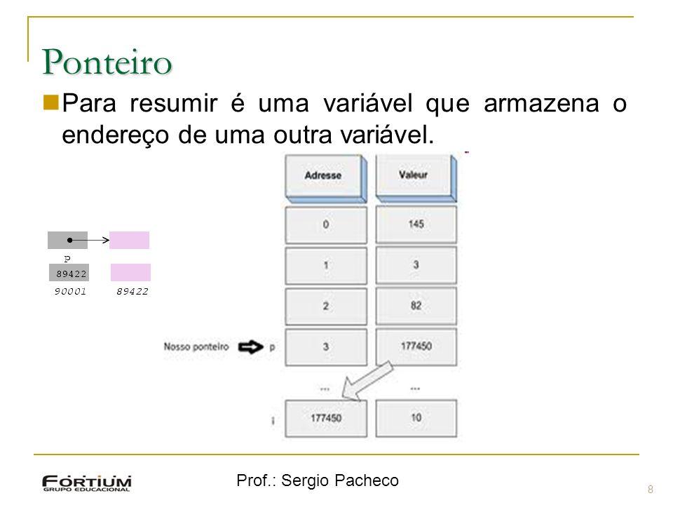 Prof.: Sergio Pacheco Ponteiro 8 Para resumir é uma variável que armazena o endereço de uma outra variável.