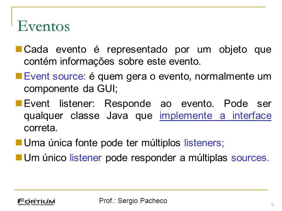 Prof.: Sergio Pacheco Eventos Cada evento é representado por um objeto que contém informações sobre este evento.