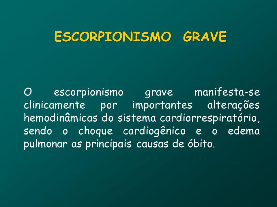 O escorpionismo grave manifesta-se clinicamente por importantes alterações hemodinâmicas do sistema cardiorrespiratório, sendo o choque cardiogênico e