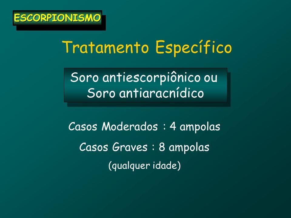 Tratamento Específico ESCORPIONISMOESCORPIONISMO Soro antiescorpiônico ou Soro antiaracnídico Soro antiescorpiônico ou Soro antiaracnídico Casos Moder