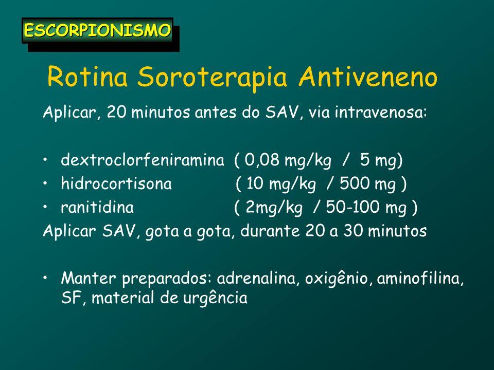 Rotina Soroterapia Antiveneno Aplicar, 20 minutos antes do SAV, via intravenosa: dextroclorfeniramina ( 0,08 mg/kg / 5 mg) hidrocortisona ( 10 mg/kg /