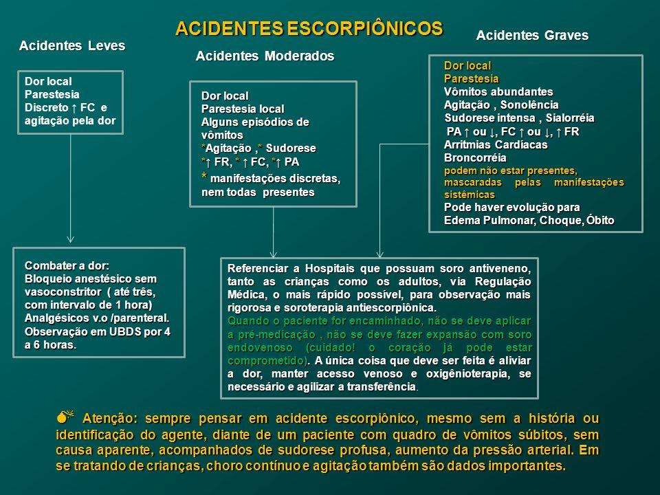 Dor local Parestesia local Alguns episódios de vômitos *Agitação,* Sudorese * FR, * FC, * PA * manifestações discretas, nem todas presentes Acidentes