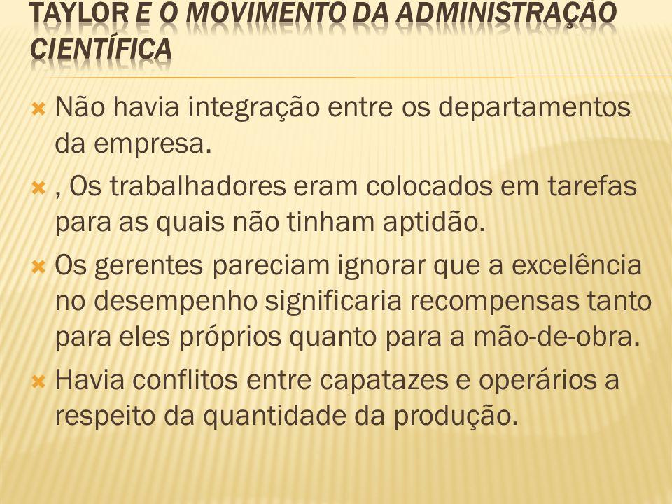 Não havia integração entre os departamentos da empresa., Os trabalhadores eram colocados em tarefas para as quais não tinham aptidão. Os gerentes pare
