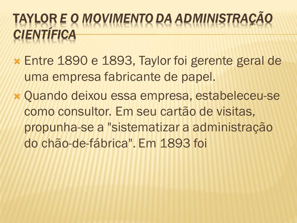 Entre 1890 e 1893, Taylor foi gerente geral de uma empresa fabricante de papel. Quando deixou essa empresa, estabeleceu-se como consultor. Em seu cart