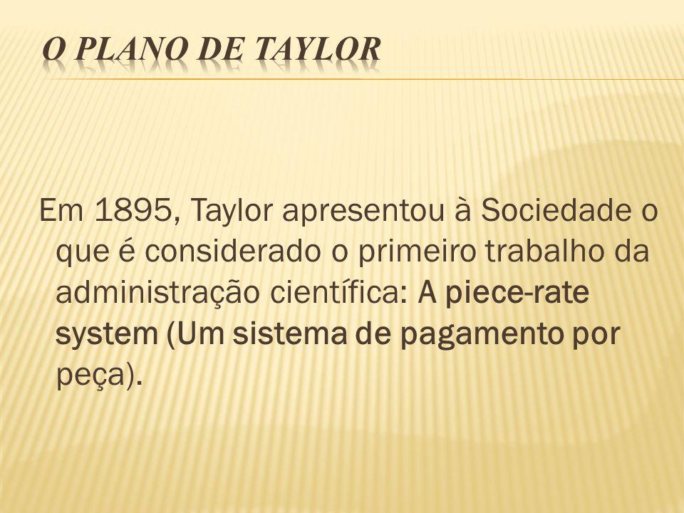 Em 1895, Taylor apresentou à Sociedade o que é considerado o primeiro trabalho da administração científica: A piece-rate system (Um sistema de pagamen