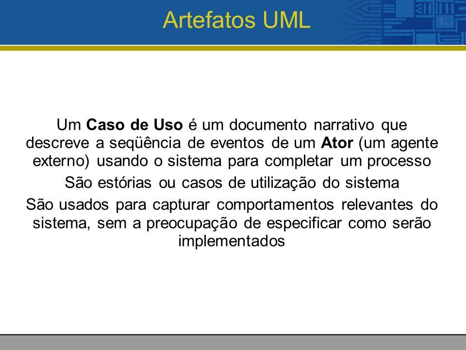 Artefatos UML Um Caso de Uso é um documento narrativo que descreve a seqüência de eventos de um Ator (um agente externo) usando o sistema para completar um processo São estórias ou casos de utilização do sistema São usados para capturar comportamentos relevantes do sistema, sem a preocupação de especificar como serão implementados