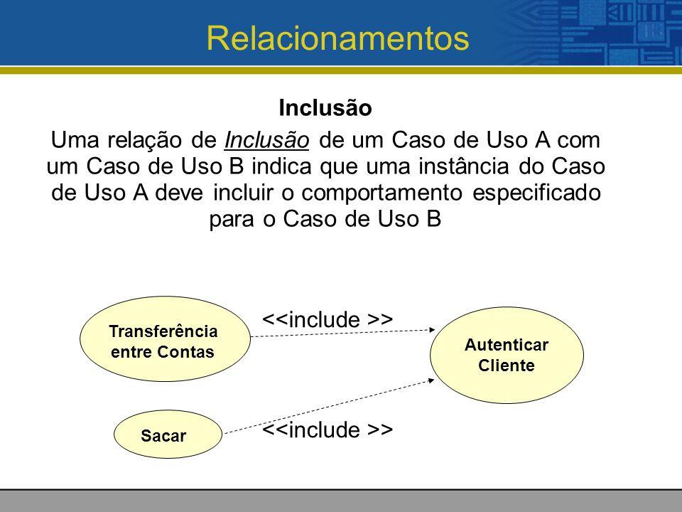 Relacionamentos Inclusão Uma relação de Inclusão de um Caso de Uso A com um Caso de Uso B indica que uma instância do Caso de Uso A deve incluir o comportamento especificado para o Caso de Uso B Transferência entre Contas Autenticar Cliente Sacar >