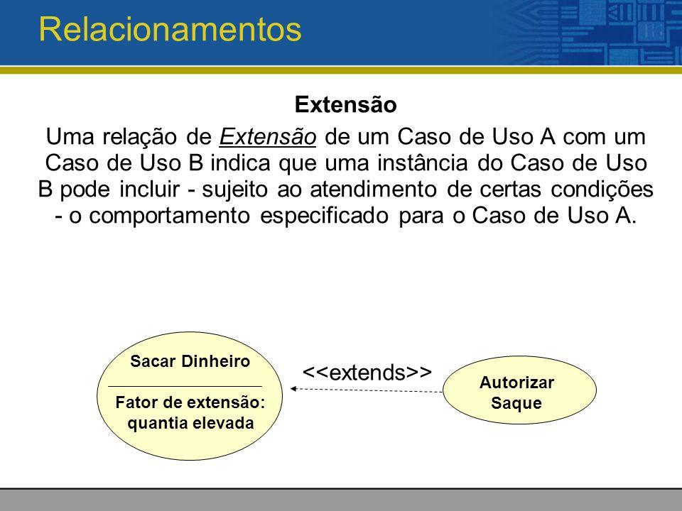 Relacionamentos Extensão Uma relação de Extensão de um Caso de Uso A com um Caso de Uso B indica que uma instância do Caso de Uso B pode incluir - sujeito ao atendimento de certas condições - o comportamento especificado para o Caso de Uso A.