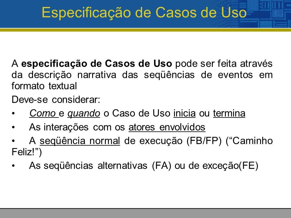Especificação de Casos de Uso A especificação de Casos de Uso pode ser feita através da descrição narrativa das seqüências de eventos em formato textual Deve-se considerar: Como e quando o Caso de Uso inicia ou termina As interações com os atores envolvidos A seqüência normal de execução (FB/FP) (Caminho Feliz!) As seqüências alternativas (FA) ou de exceção(FE)