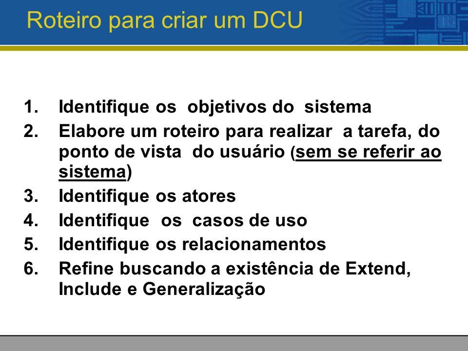 Roteiro para criar um DCU 1.Identifique os objetivos do sistema 2.Elabore um roteiro para realizar a tarefa, do ponto de vista do usuário ( sem se referir ao sistema) 3.Identifique os atores 4.Identifique os casos de uso 5.Identifique os relacionamentos 6.Refine buscando a existência de Extend, Include e Generalização