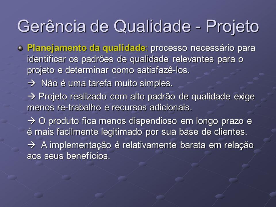 Gerência de Qualidade - Projeto Planejamento da qualidade: processo necessário para identificar os padrões de qualidade relevantes para o projeto e de