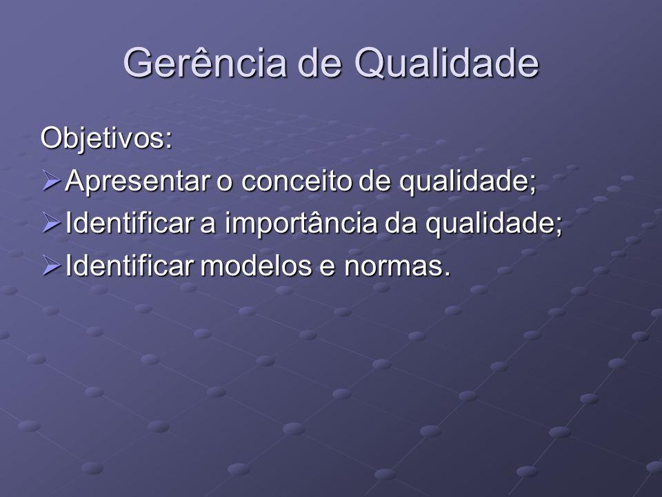 Gerência de Qualidade Objetivos: Apresentar o conceito de qualidade; Apresentar o conceito de qualidade; Identificar a importância da qualidade; Ident