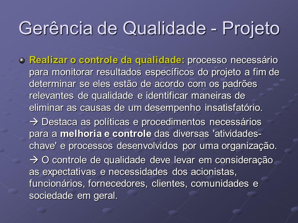 Gerência de Qualidade - Projeto Realizar o controle da qualidade: processo necessário para monitorar resultados específicos do projeto a fim de determ
