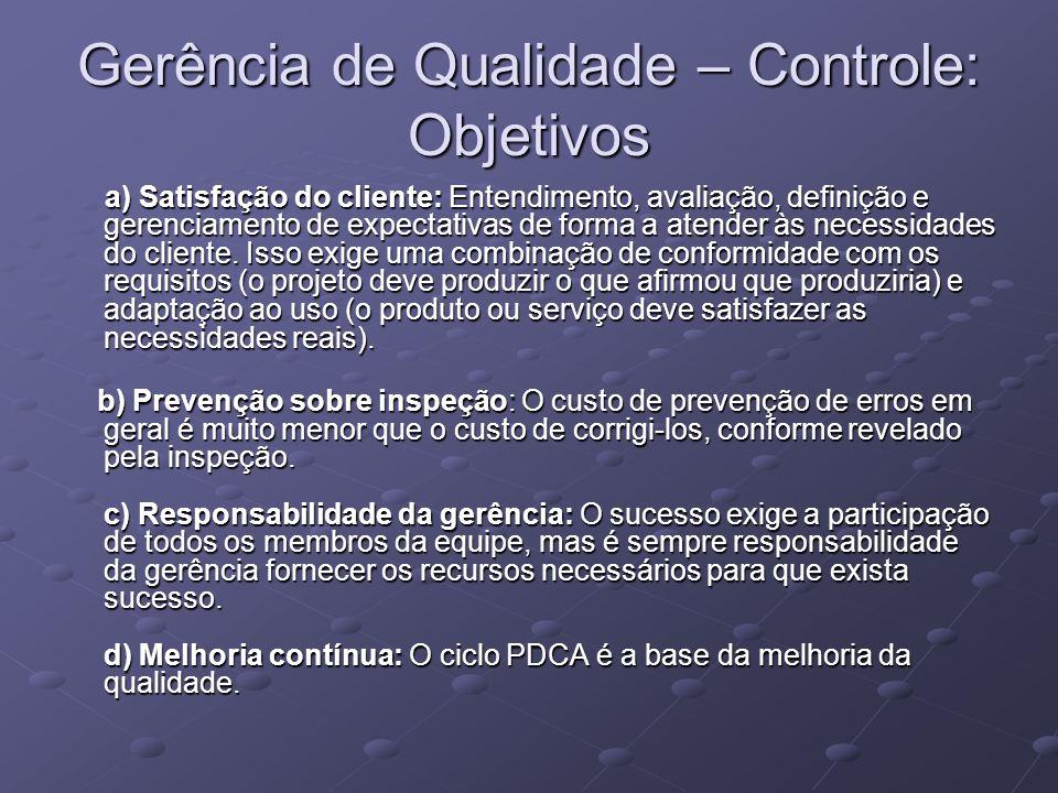 Gerência de Qualidade – Controle: Objetivos a) Satisfação do cliente: Entendimento, avaliação, definição e gerenciamento de expectativas de forma a at