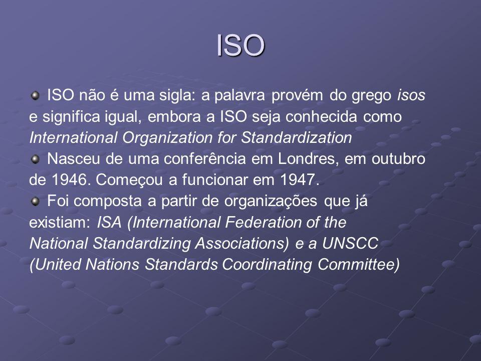 ISO ISO não é uma sigla: a palavra provém do grego isos e significa igual, embora a ISO seja conhecida como International Organization for Standardiza