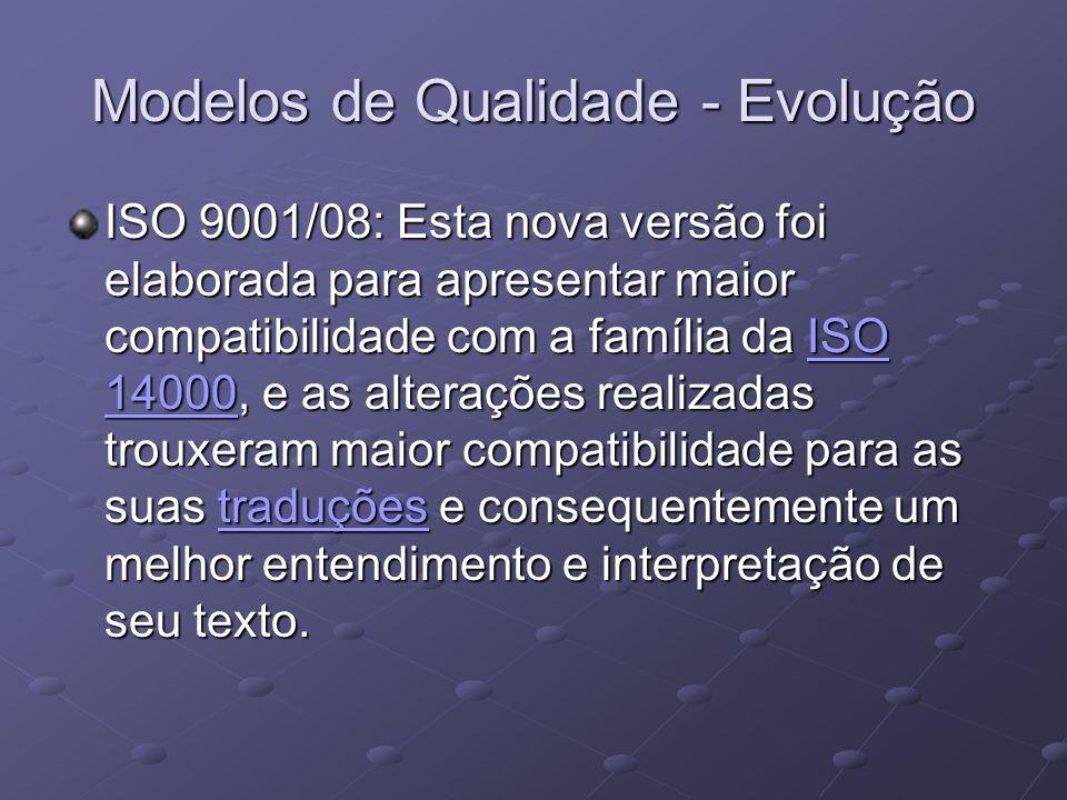 Modelos de Qualidade - Evolução ISO 9001/08: Esta nova versão foi elaborada para apresentar maior compatibilidade com a família da ISO 14000, e as alt