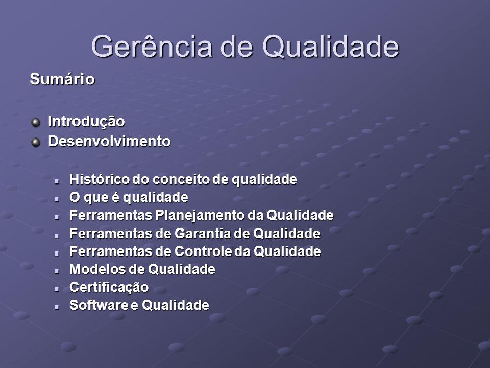 Gerência de Qualidade SumárioIntroduçãoDesenvolvimento Histórico do conceito de qualidade Histórico do conceito de qualidade O que é qualidade O que é