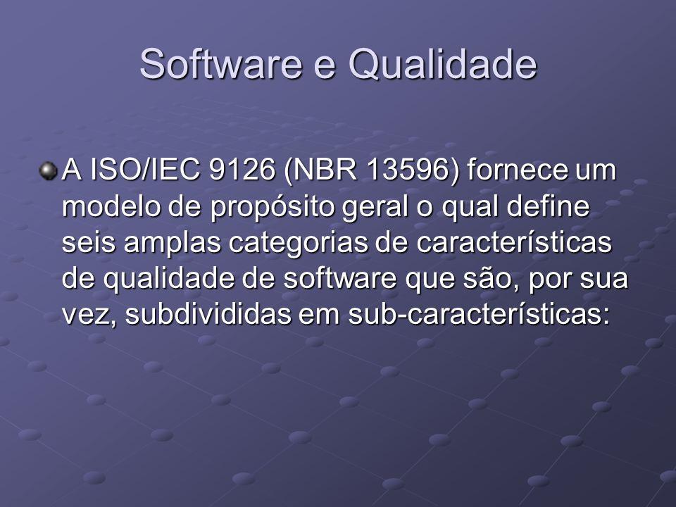 Software e Qualidade A ISO/IEC 9126 (NBR 13596) fornece um modelo de propósito geral o qual define seis amplas categorias de características de qualid