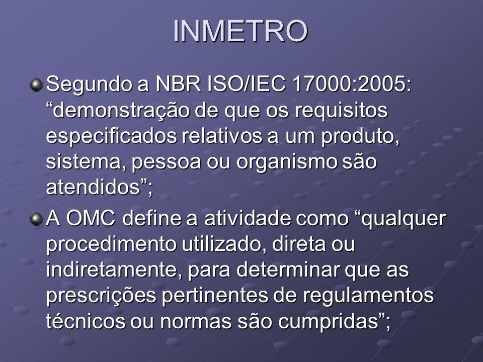 INMETRO Segundo a NBR ISO/IEC 17000:2005: demonstração de que os requisitos especificados relativos a um produto, sistema, pessoa ou organismo são ate