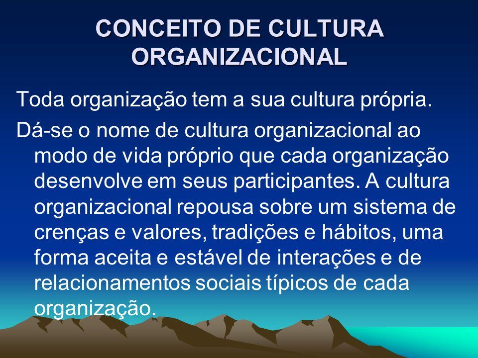 CONCEITO DE CULTURA ORGANIZACIONAL Toda organização tem a sua cultura própria. Dá-se o nome de cultura organizacional ao modo de vida próprio que cada