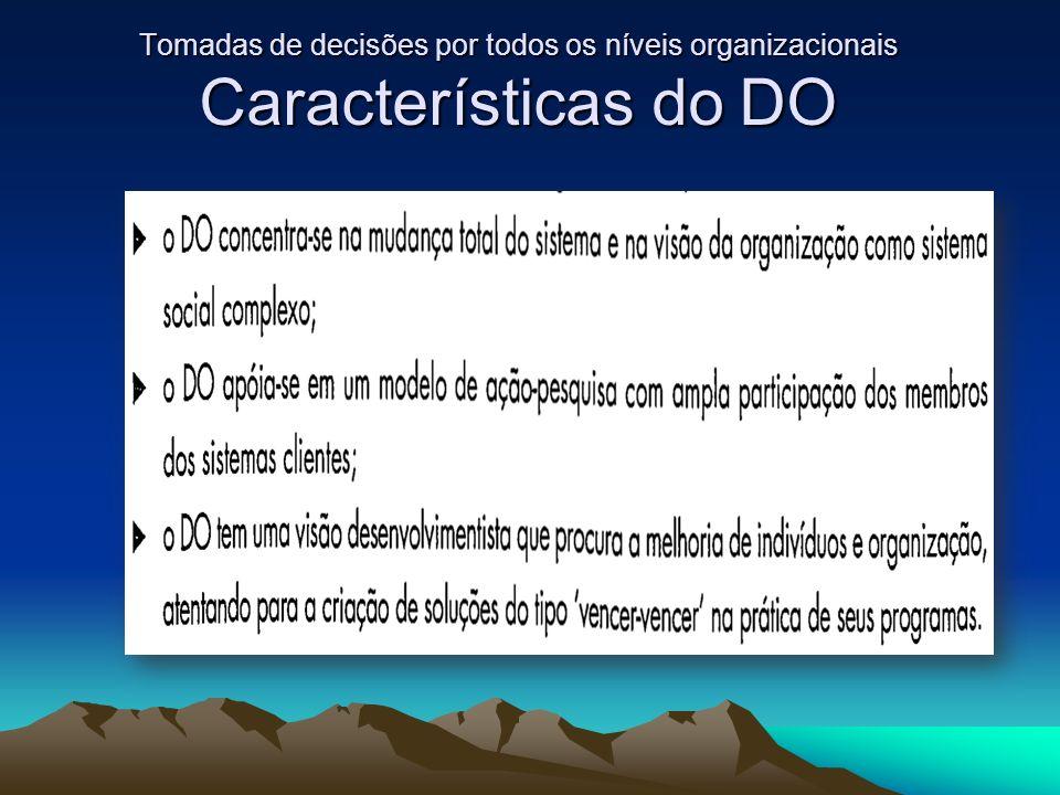 Tomadas de decisões por todos os níveis organizacionais Características do DO