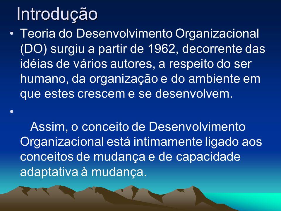 Introdução Teoria do Desenvolvimento Organizacional (DO) surgiu a partir de 1962, decorrente das idéias de vários autores, a respeito do ser humano, d