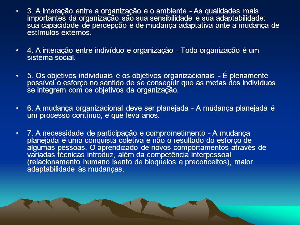 3. A interação entre a organização e o ambiente - As qualidades mais importantes da organização são sua sensibilidade e sua adaptabilidade: sua capaci