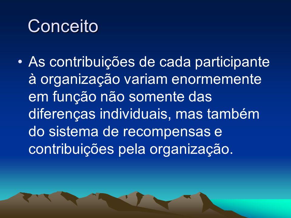 Conceito As contribuições de cada participante à organização variam enormemente em função não somente das diferenças individuais, mas também do sistem