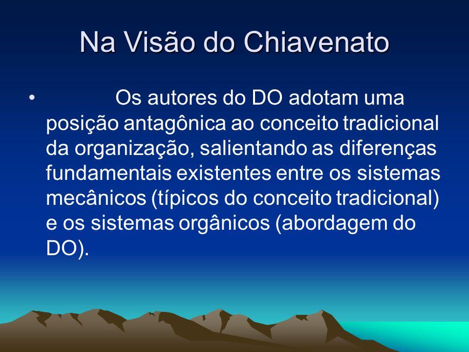 Na Visão do Chiavenato Os autores do DO adotam uma posição antagônica ao conceito tradicional da organização, salientando as diferenças fundamentais e