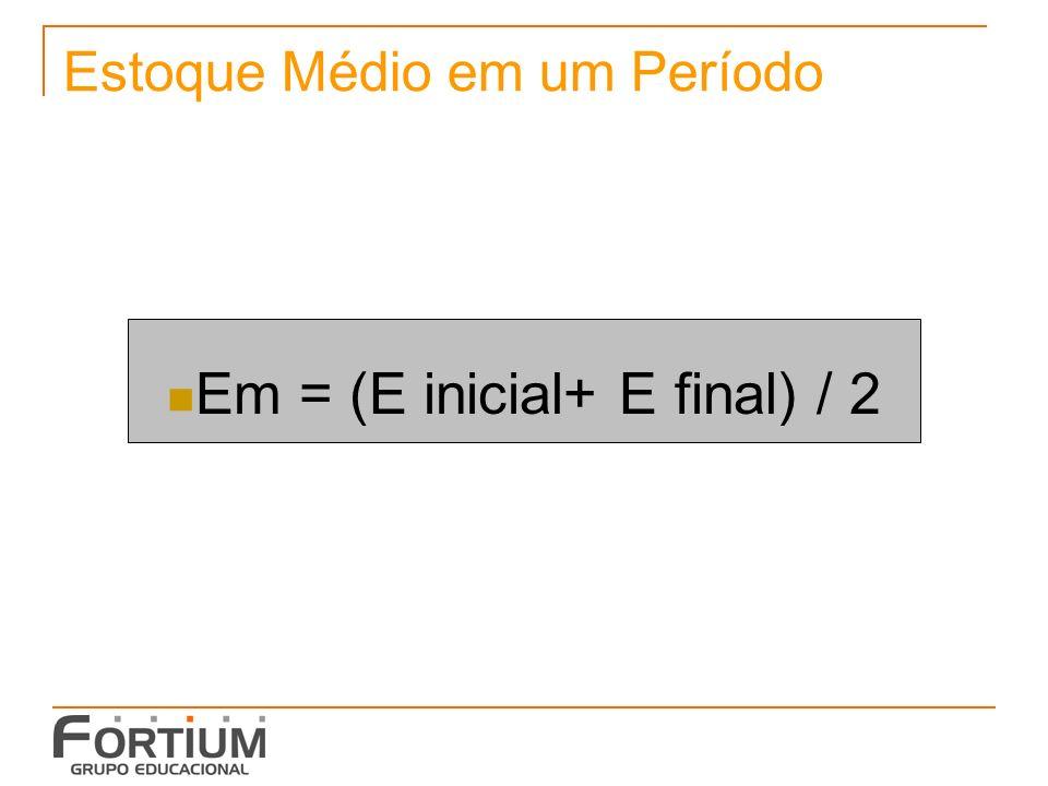 Estoque Médio em um Período Em = (E inicial+ E final) / 2
