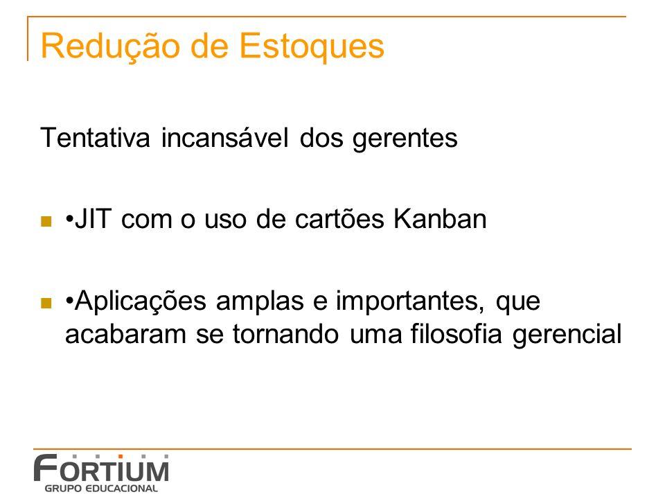 Redução de Estoques Tentativa incansável dos gerentes JIT com o uso de cartões Kanban Aplicações amplas e importantes, que acabaram se tornando uma filosofia gerencial