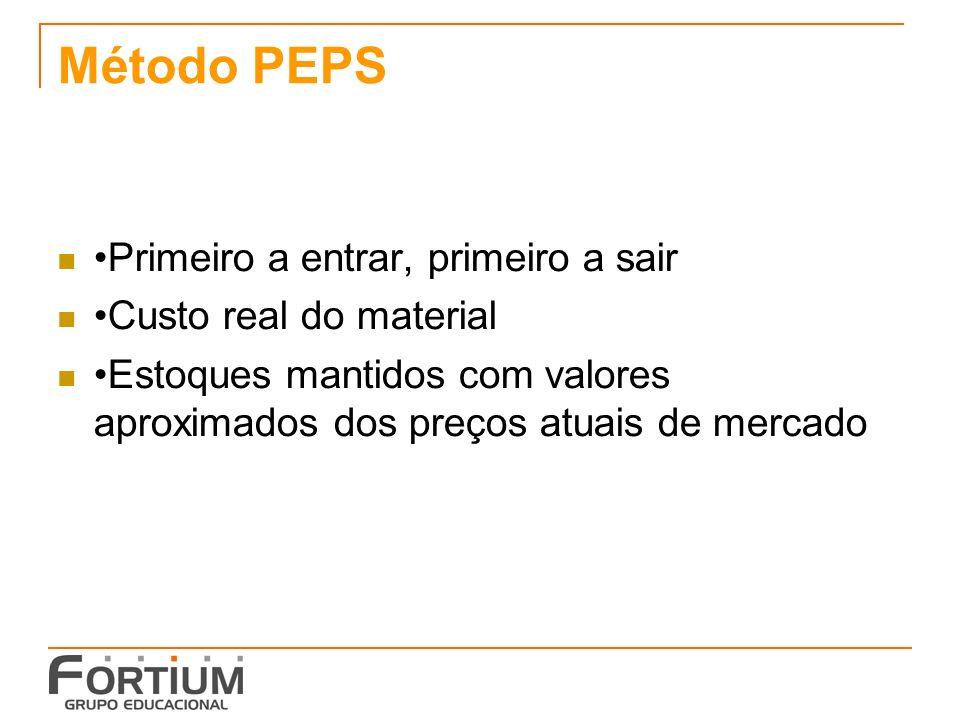 Método PEPS Primeiro a entrar, primeiro a sair Custo real do material Estoques mantidos com valores aproximados dos preços atuais de mercado