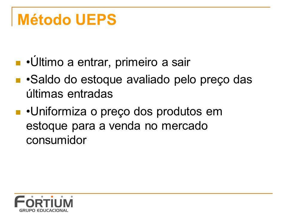 Método UEPS Último a entrar, primeiro a sair Saldo do estoque avaliado pelo preço das últimas entradas Uniformiza o preço dos produtos em estoque para a venda no mercado consumidor