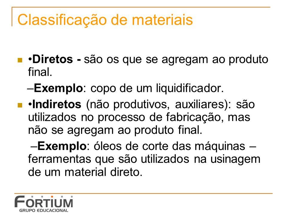 Classificação de materiais Diretos - são os que se agregam ao produto final.